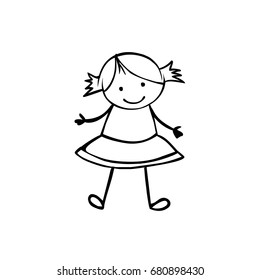 Vector flat girl in the children's style. Black on white