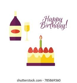 Vector flat glass of champagne ,bottle, birthday cake icon with happy birthday inscription. Glass bottle with gold label mockup. Christmas, new year celebration. Isolated illustration white background