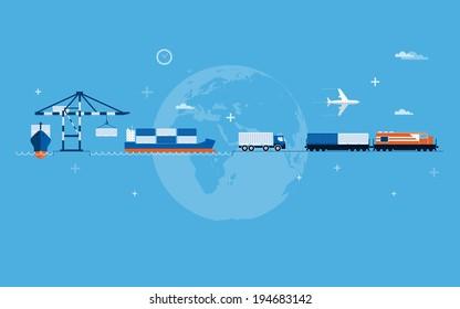 Vector flat global transportation concept illustration.