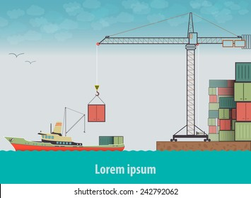 Vector flat global transportation concept illustration. Cargo ships in harbor.