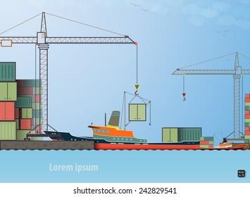 Vector flat global transportation concept illustration. Cargo ships in harbor loading tower crane eps 10
