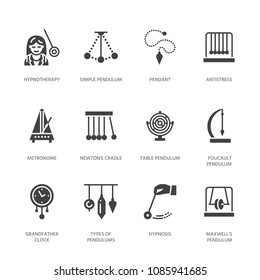Vector flat glyph icons of pendulums types. Newton cradle, metronome, table pendulum, perpetuum mobile, gyroscope. Signs for hypnosis, hypnotherapy. Solid silhouette pixel perfect 64x64.