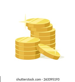 Vector flat gold coins icon