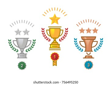 Vector Flat Gold, Silver and Bronze Trophy Icon with stars and laurel wreath