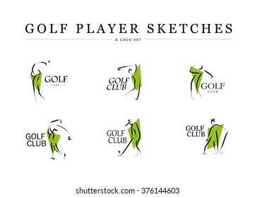 Vector flat golf logo design. Golf player icon, golfing stick, sport logo, golf club insignia, print design, any advertising sample. Hand drawn human silhouette.