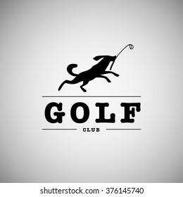 Vector flat golf logo design. Animal badge design. Black dog running for ball. Golf player icon, sport logo, golf club insignia, print design, any advertising competition, championship sample.