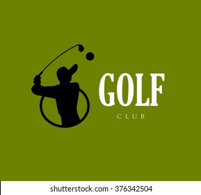 Vector flat golf logo design. Golf player icon, sport logo, golf club insignia, print design, any advertising sample.