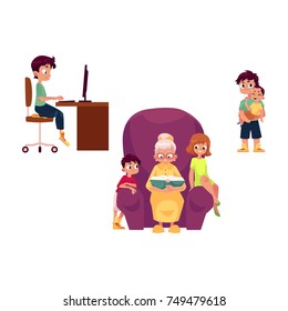 vector flat grandparents children set. boy, girl kids listen to grandmother reading book, at chair, teen boy sits at computer table, adult man holds baby. Isolated illustration on a white background.