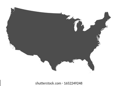 Vector flat gray silhouette of the United States of America USA isolated on white background. Template for web site, iconographics.