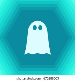 Vector flat halloween icon. Simple illustration. flat Ghost on hexagonal background