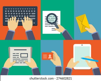 Vector flat hands holding different business related objects