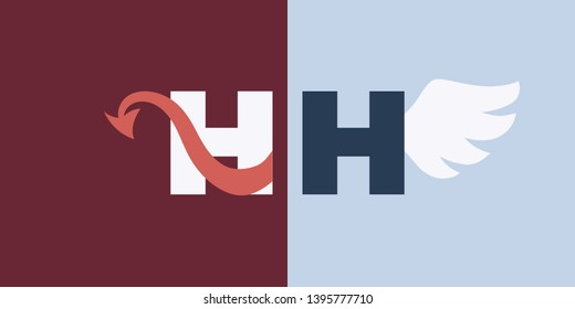 Vector flat heaven and hell logo. A red tailed character on red opposite white winged character on blue. Concept of religious symbol, angel and demon standoff.