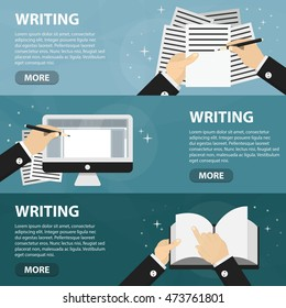 Vector flat horizontal banners of writing for website. Business concept of writer profession and copywriting freelance work. Set of hands with document and paper.