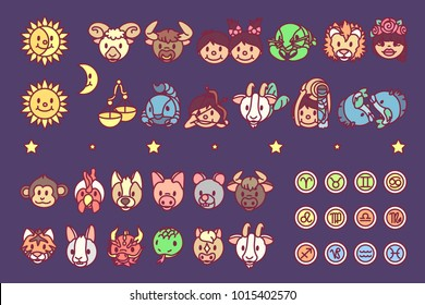 vector Flat horosopes graphic icons concept for kids. Cute cartoon character design elements. Zodiac objects collection. Colorful astrology illustration. Patterns set on blue background 2