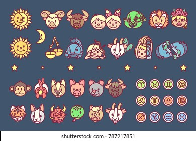 vector Flat horosopes graphic icons concept for kids. Cute cartoon character design elements. Zodiac objects collection. Colorful astrology illustration. Patterns set on blue background.