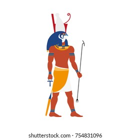 vector flat Horus - ancient god of egypt with head of falcon and human body icon. God of sky, sun and royalty. Isolated illustration on a white background.