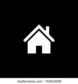 Vector flat house icon on black background