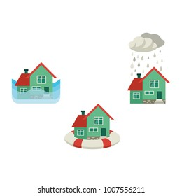 Vector flat house insurance concept set. Private house being protecting from flood disasters by inflatable ring, damaged by snowfall, flood. Natural disaster insurance. Isolated illustration