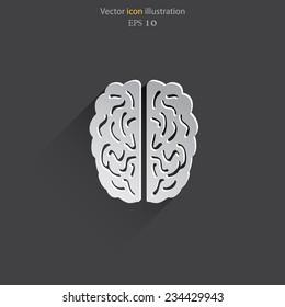 Vector flat human brain icon. Eps 10.