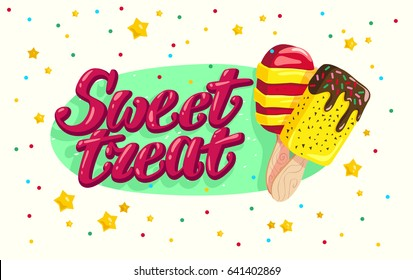 Vector flat ice cream truck, shop, store logo with hand written font and two eskimo with confetti isolated on white background. Cartoon style. Dessert illustration. Package design, menu cover template