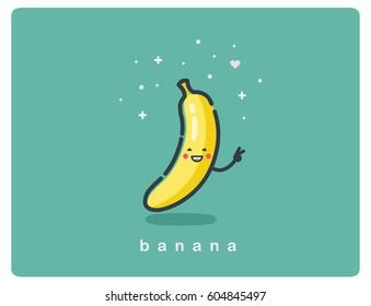 Vector flat icon of banana, fruit funny cartoon character