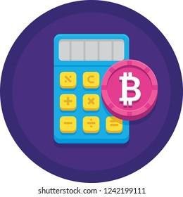 Vector flat icon of bitcoin symbol and calculator illustration