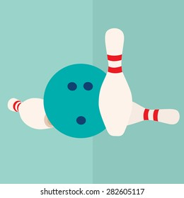 vector flat icon  bowling ball and pins