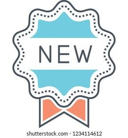 Vector flat icon of brand new badge illustration