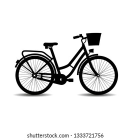 Vector, flat icon of a classic lady's bike. Black bike icon