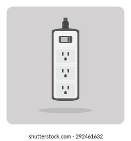 Vector of flat icon, electric power strip on isolated background