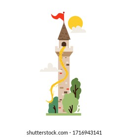 Vector flat icon of fairytale castle, medieval tower. Fantasy gothic tower, with Rapunzel, the princess with the long hair, for stickers and children's illustrations.