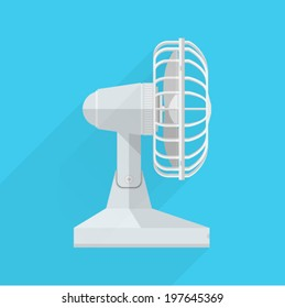 Vector flat icon for fan. A side view of the white fan on blue background.