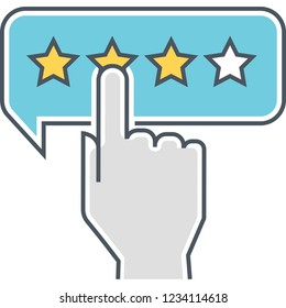 Vector flat icon of finger clicking rating stars, customer review concept illustration