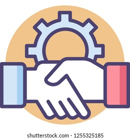 Vector flat icon of a gear sign and business people shaking hands, cooperation concept illustration