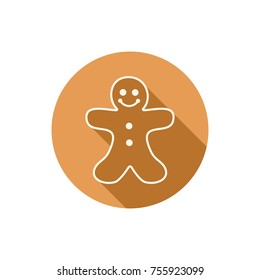 vector flat icon of gingerbread man cookie for christmas and new year holiday food illustration. ginger bread  man icon isolated on white background
