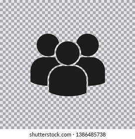 Vector flat icon group of people on transparent background