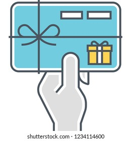 Vector flat icon of hand holding a giftcard illustration