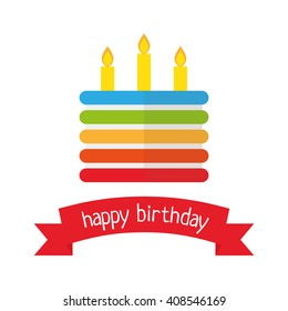Vector flat icon happy birthday cake isolated template card