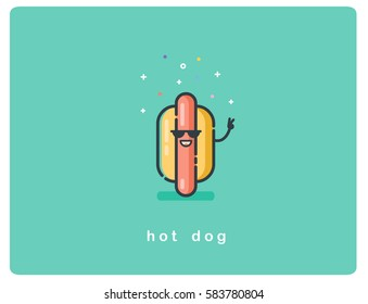 Vector flat icon of hot dog character with sunglasses and smile