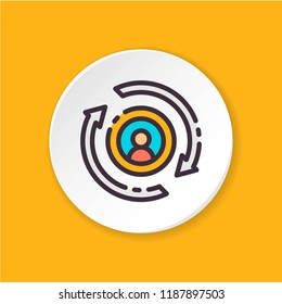 Vector flat icon HR-change. HR research sign. Button for web, mobile app, site, banner, ad, smm. Pictogram for UI/UX/GUI user interface. Editable stroke.