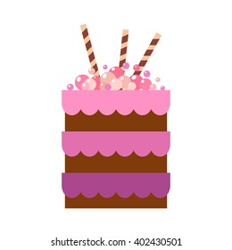 Vector flat icon illustration of cake. Cake for Happy birthday, party decoration or design menu with decoration of balls and wafer sticks