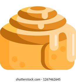 Vector flat icon illustration of cinnamon roll with melting vanilla icing