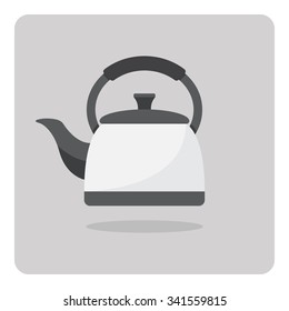 Vector of flat icon, kettle on isolated background