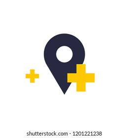 Vector flat icon location sign. geo tag with pluses