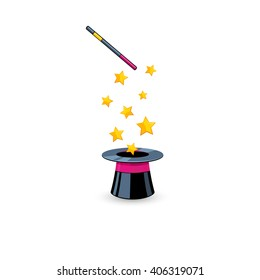 Vector flat icon of magic hat and wand. Magic trick icon isolated.