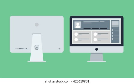 Vector flat icon of modern computer illustration from front view