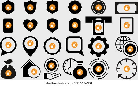 Vector flat icon set with BitConnect BCC cryptocurrency logo. Badge, arrow, shield, heart, cloud, chip, cog and mobile devices. Mining, crypto exchange and payment.