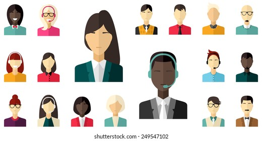 Vector flat icon set. Different people character, male, female, businessman, technical support