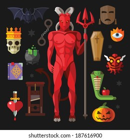 Vector flat icon set  hell: demon, devil, coffin, mask, guillotine, potion, spell, bat, book, snake, apple, heart, sword in flat style