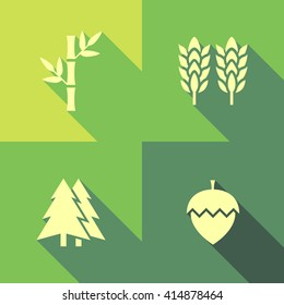 Vector Flat Icon Set - Plants